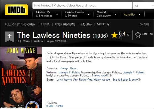 The Lawless Ninties 1936 IMDB Review