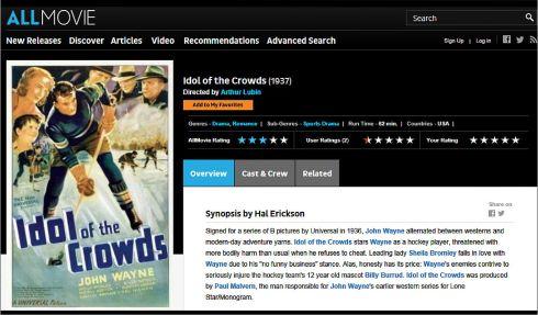 Idol of the Crowds John Wayne 1937 Allmovie Review