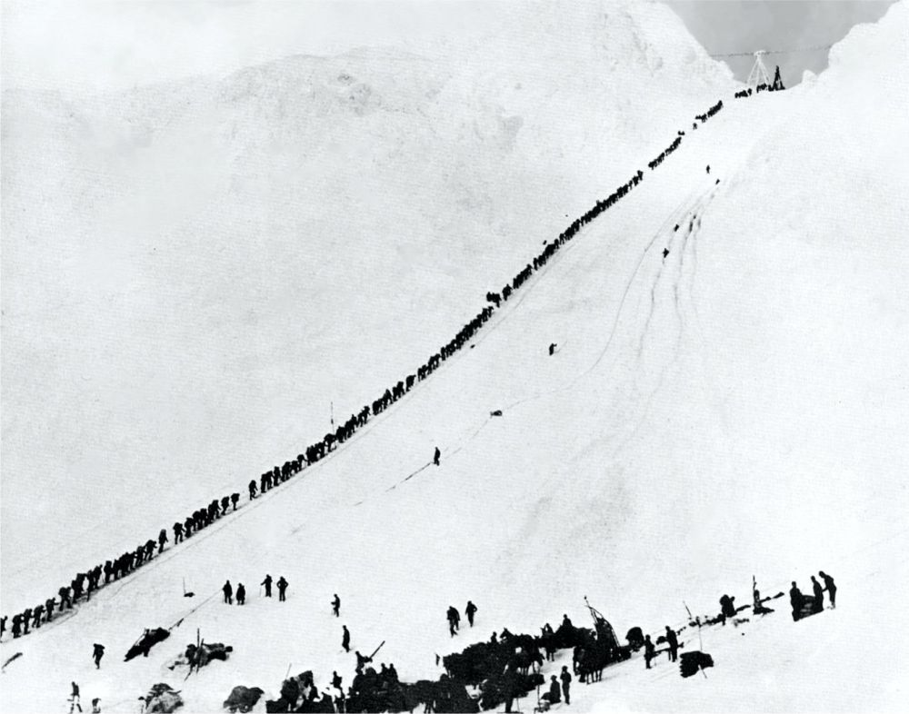 The Legendary Chilkoot Pass between British Columbia and Alaska
