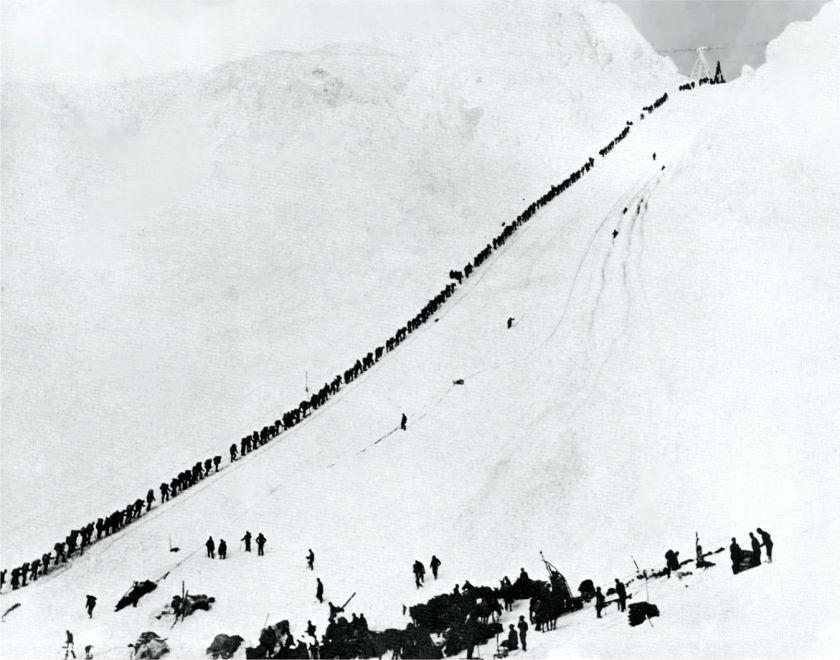 The Legendary Chilkoot Pass between British Columbia and Alaska