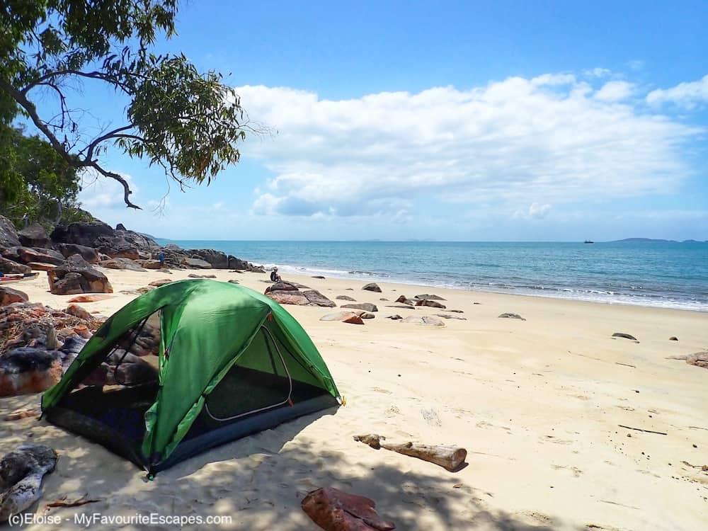 Tent on the beach while kayaking Hinchinbrook Island