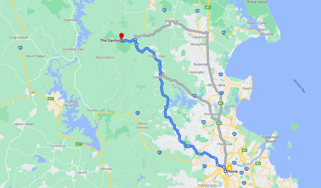 Itinerary to The Gantry - scenic route from Brisbane