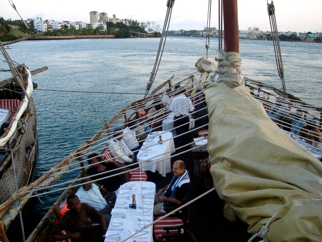 Eating out: An enchanting evening of exotic seafood, blended with live Music, on the Tamarind Dhow Cruise, Mombasa, Kenya- on the Indian Ocean.