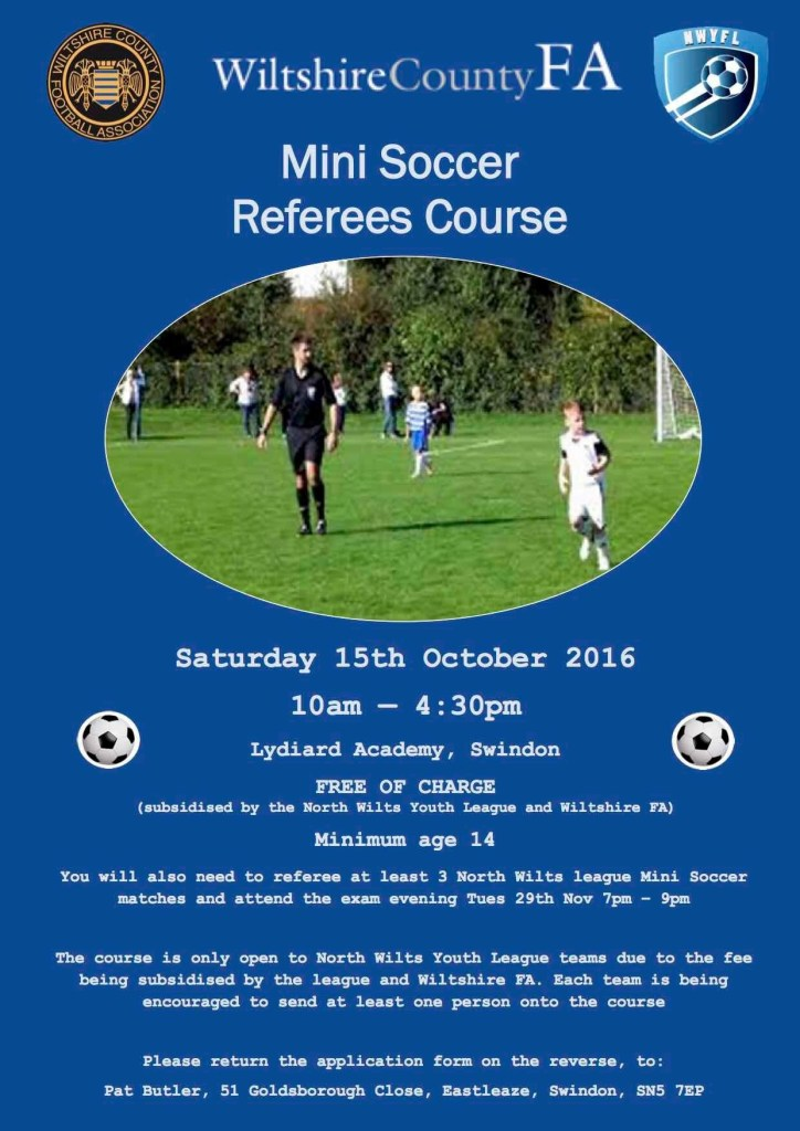 Mini soccer referees needed