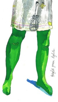 green tights by Myfanwy Tristram