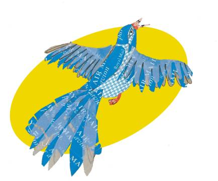 Airmail bird by Myfanwy Tristram