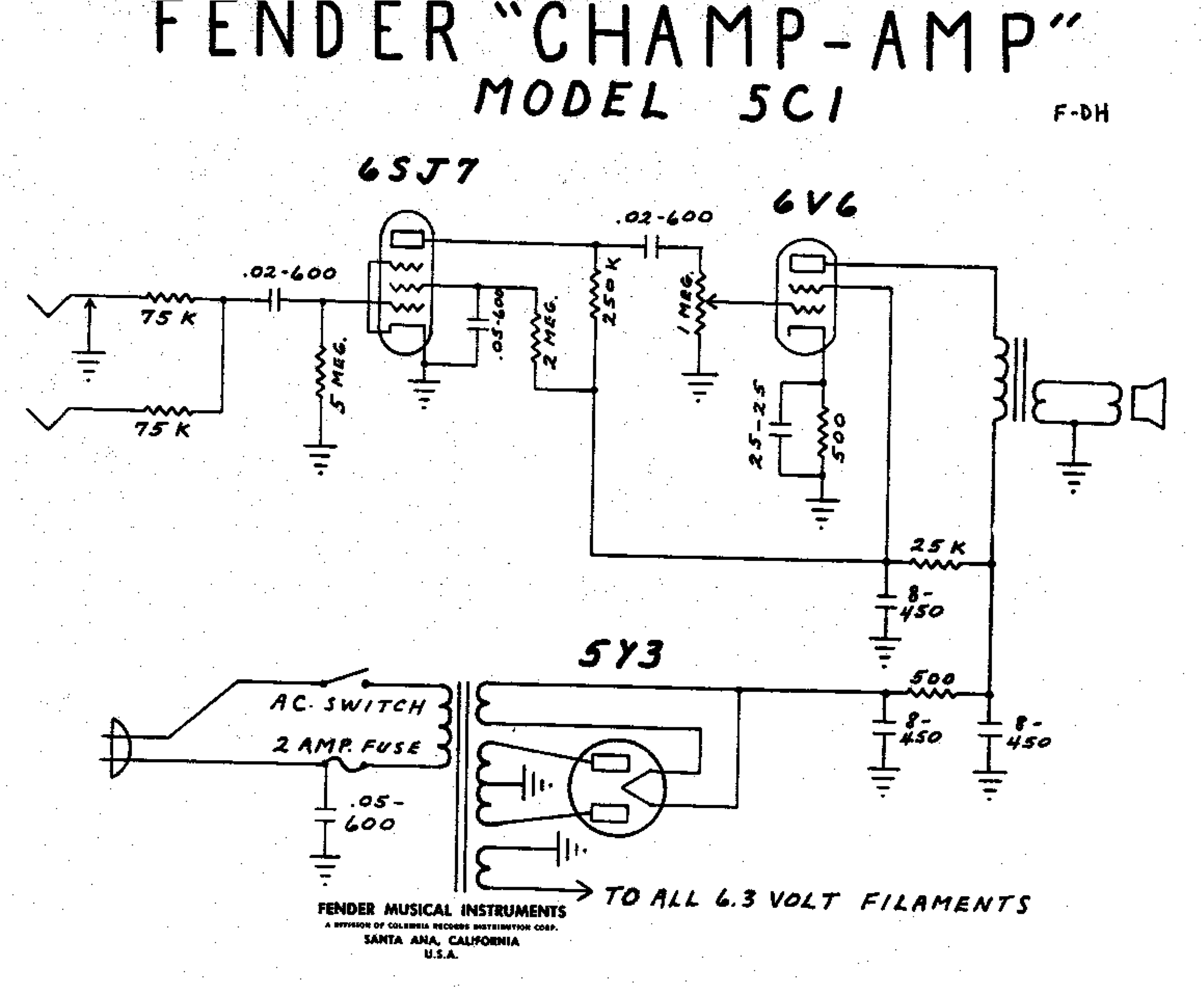 Fender Champ 5C1 Wiring Diagram | My Fender Champ | Vintage Amps on