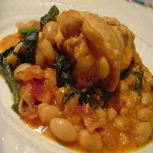 Iron Beans with Spinach Stew and Chicken