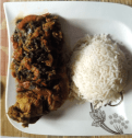 Chicken and Prawn Spinach Sauce with White Rice.
