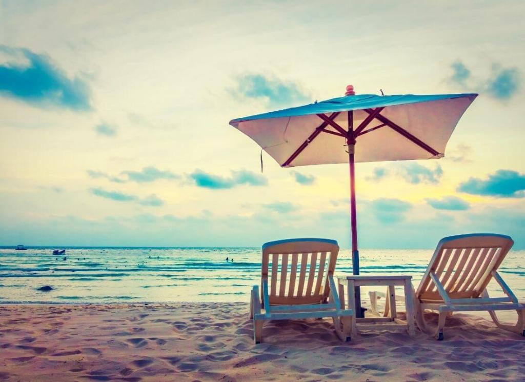 Two Beach Chairs With Umbrella By Progreso Beach Cruise to Mexico On a Budget - My Financial Hill