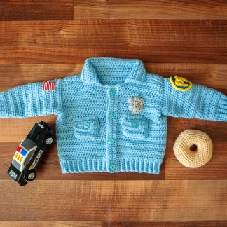 Baby Police Officer Sweater Crochet Pattern