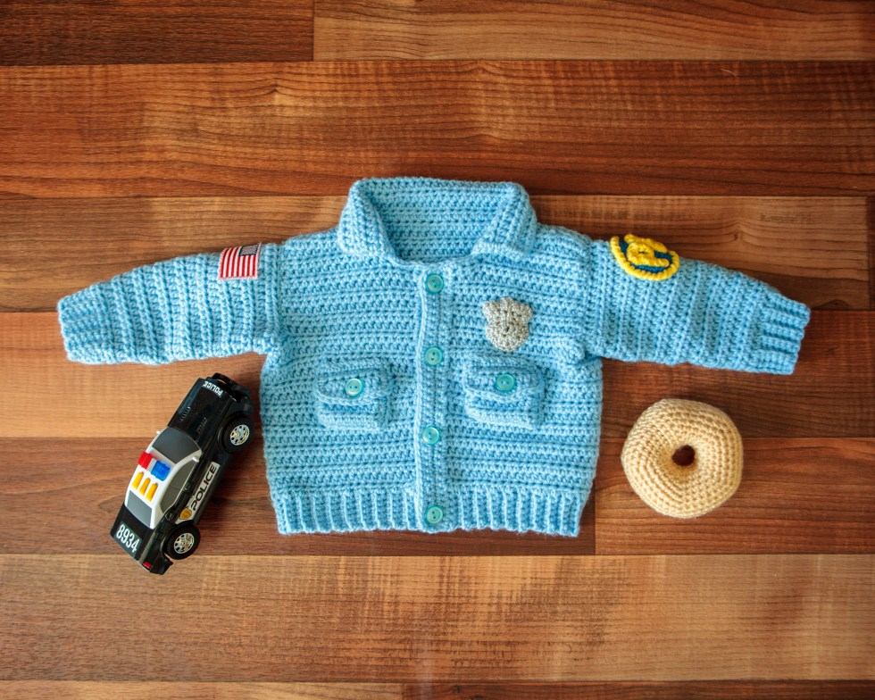 Baby Police Officer Sweater Crochet Pattern