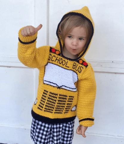 School Bus Toddler Hoodie Crochet Pattern, Sizes 2, 4, 6
