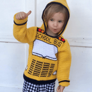 School Bus Toddler Hoodie Crochet Pattern, Sizes 2, 4, 6