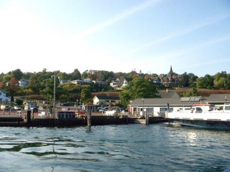 View of Bayfield, MI as ferry heads to La Pointe on Madeline Island