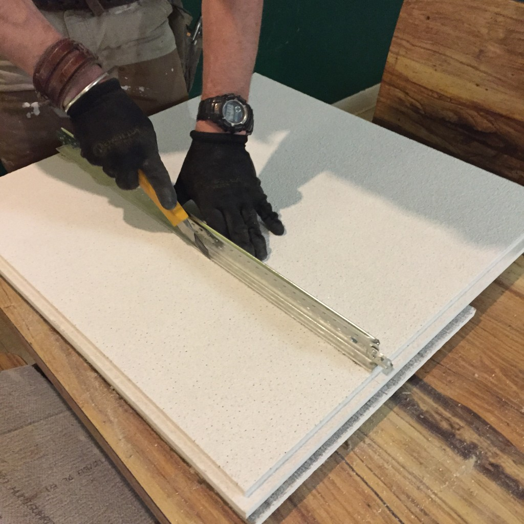 Suspended Ceiling How To Cut A Reveal Ceiling Tile