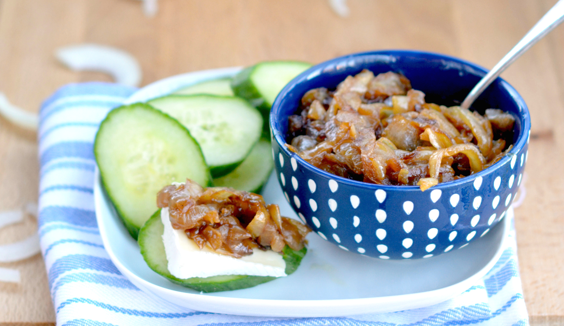 Caramelized Onions with Brie on Cucumber