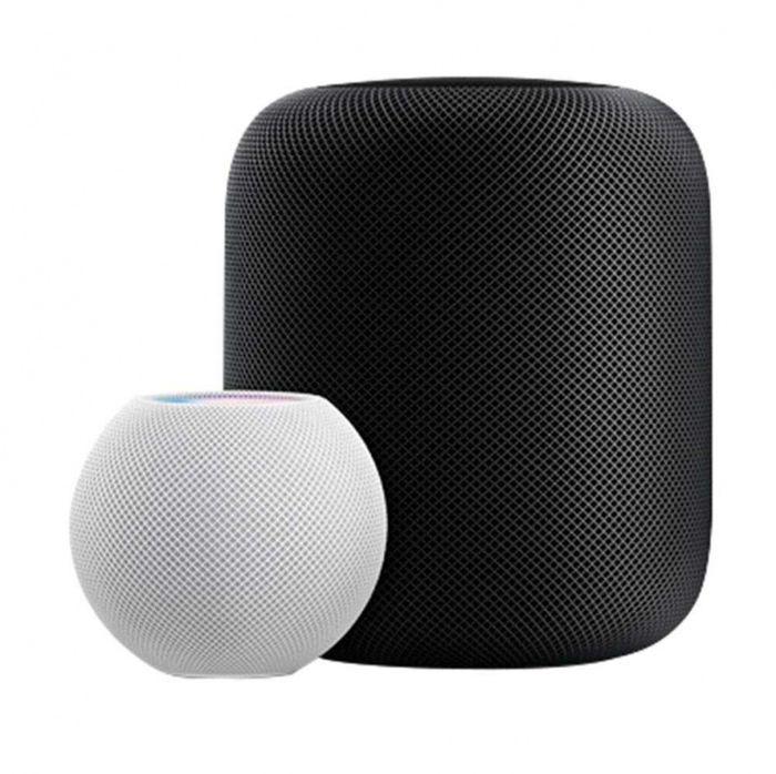 比起前代HomePod,HomePod mini體積小了一半以上,頂部有控制音樂的觸控表面,喚醒Siri時會發亮。(圖/Apple提供)