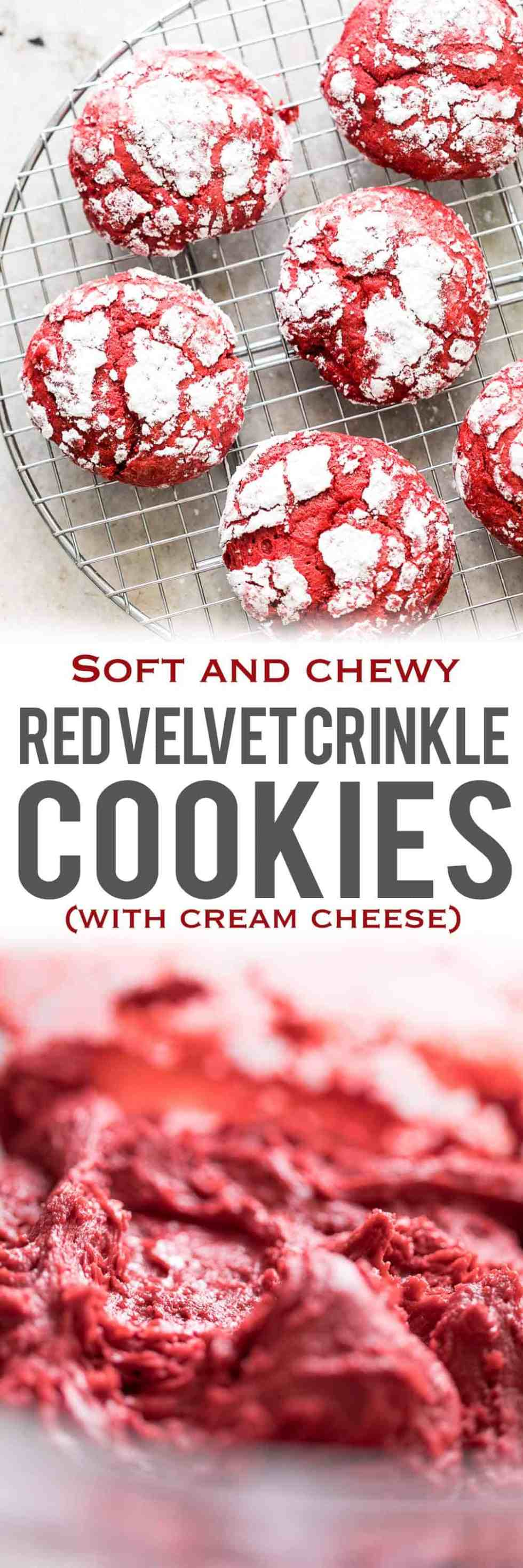 Red Velvet Crinkle Cookies are soft, chewy cookies that are made from scratch with cream cheese and will fit right in with your holiday plans. Use them for cookie swaps, gifting or just to pass around the Christmas table!