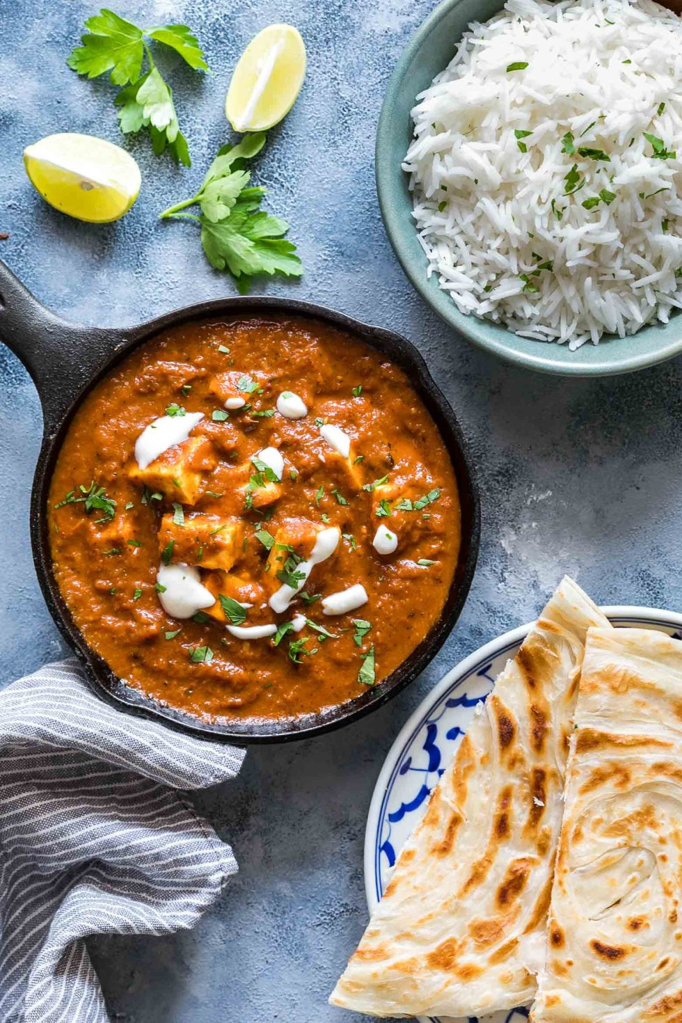 An easy recipe for the perfect restaurant style paneer butter masala for all you paneer (cottage cheese) lovers! I love serving this with parathas and jeera rice. It's always a hit with family and guests!