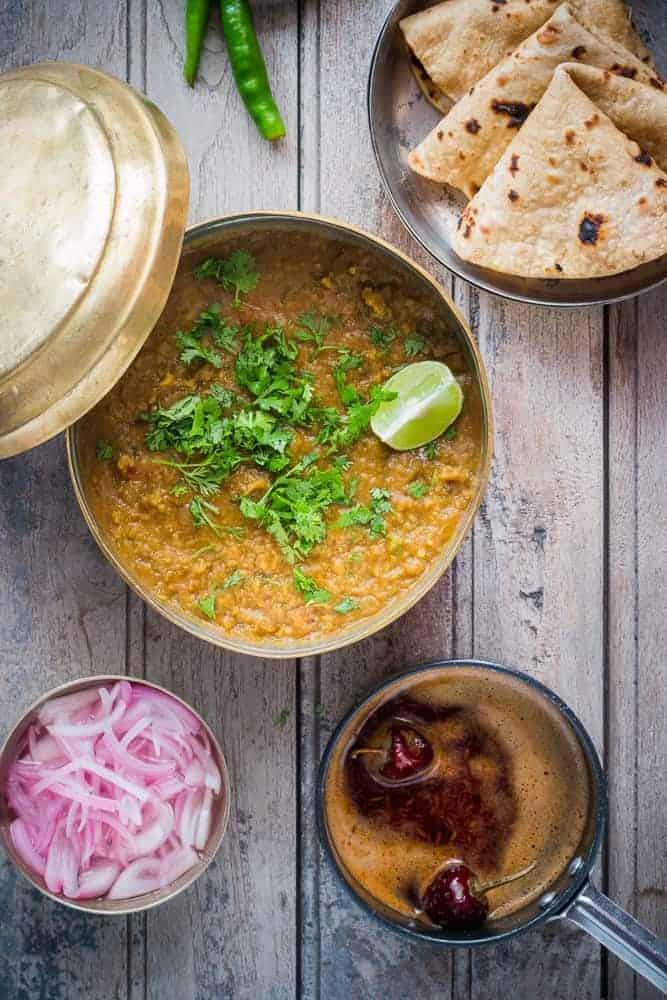 Spicy, smoky and really authentic Indian punjabi dhaba style dal (lentil curry soup) fry. A quick 30 minute recipe which is wholesome and really tasty!