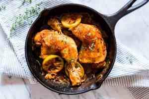 Caramelized Onion Thyme Lemon Chicken Legs