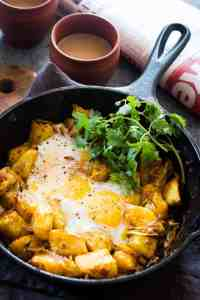 Spiced Indian Potatoes and Egg Skillet