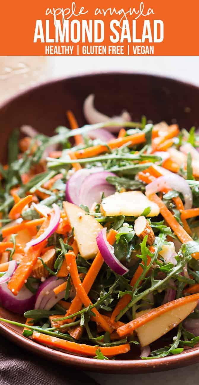 Apple Arugula Almond Salad | Orange Dressing | Vegan | Gluten Free | Use Rocket or Lettuce | Weight Loss | Thanksgiving | Fall Winter Salad