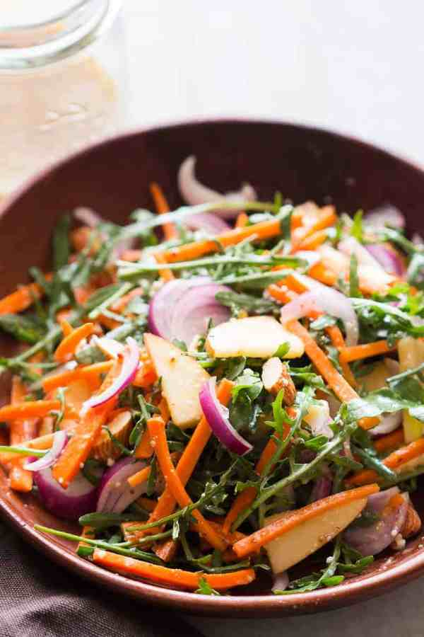 Apple Arugula Almond Salad with Orange Marmalade Dressing is a quick, easy healthy salad like waldorf but better. Vegan, Gluten Free and the perfect side dish to your dinner!
