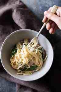 Creamy Lemon Mushroom Kale Linguine Pasta