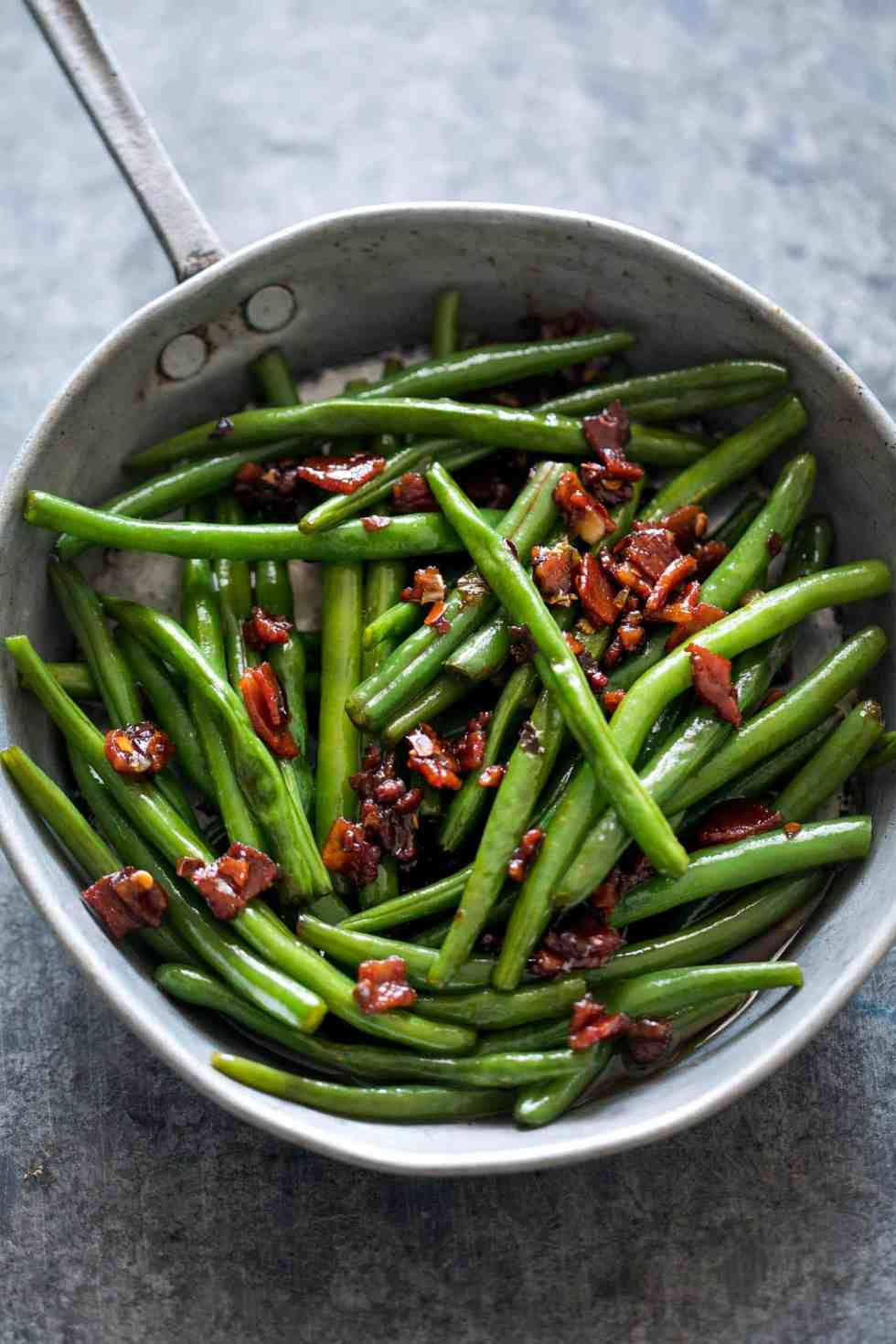 Old Fashioned Green Beans With Bacon And Brown Sugar
