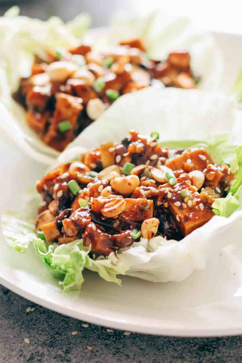 These vegetarian mapo tofu lettuce wraps double up as appetizer and dinner and use shiitake mushrooms instead of pork for that same great taste! Vegan and Gluten Free too.