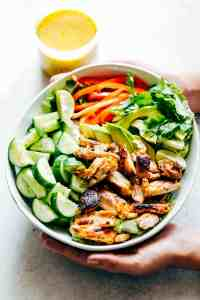Grilled Chicken Mango Salad with Mango Cilantro Dressing