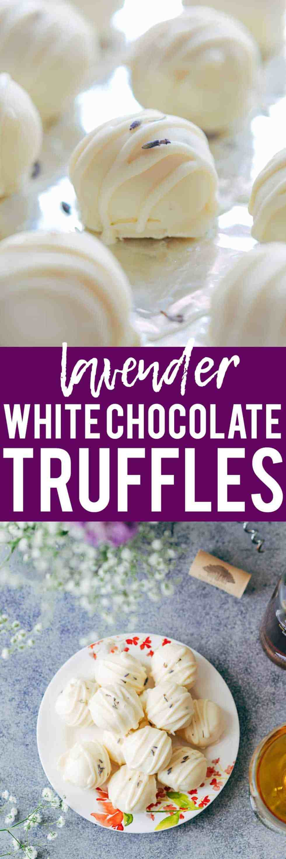 Lavender white chocolate truffles are fragrant, creamy, elegant white chocolate bites that are perfect for the holidays! Use them to serve as mini desserts, or for Christmas gifting.Perfect for thanksgiving, hanukkah, christmas and New Years!