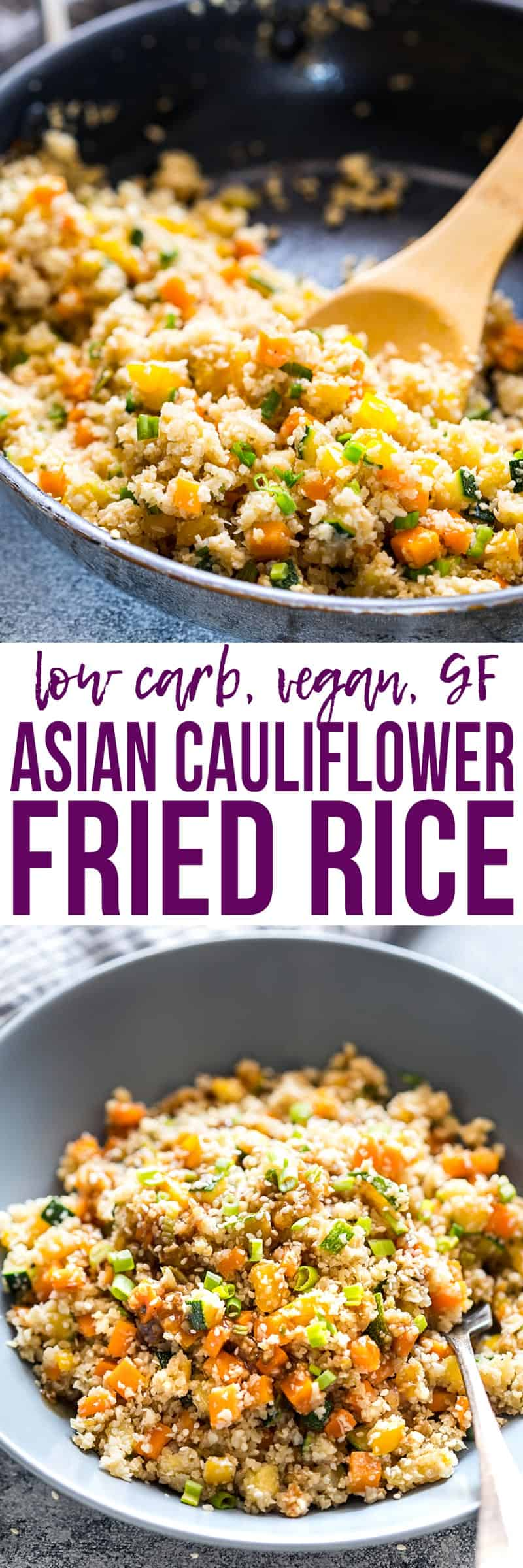 Learn how to cook Low Carb Asian Cauliflower Rice which is a healthy take on fried rice thats vegan, gluten free & keto friendly. Ready in twenty minutes and loaded with veggies! Easily made paleo too.