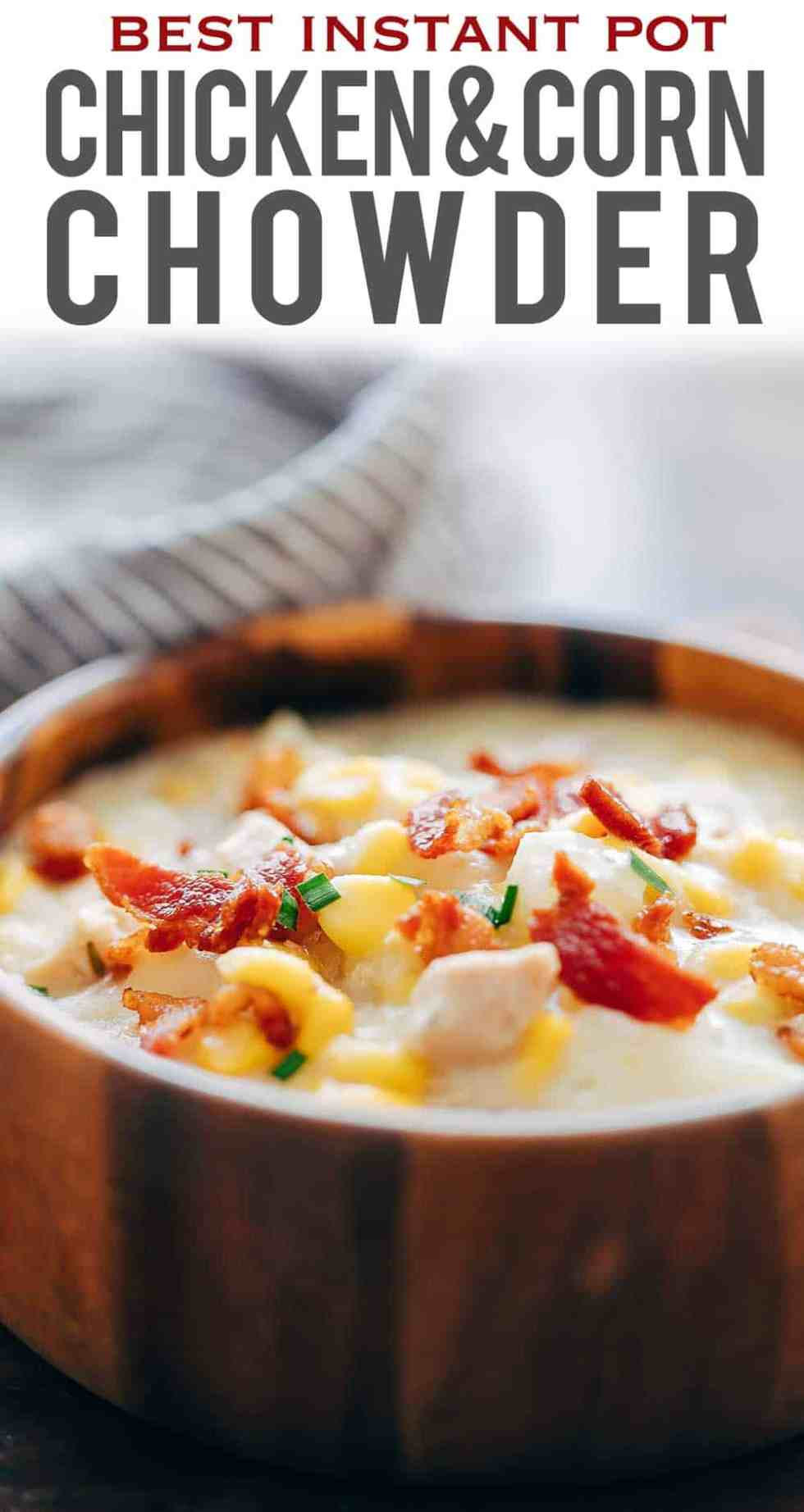This Instant Pot chicken potato corn chowder with bacon is a delicious thick, creamy, hearty soup thats perfect comfort food for winter. Its a one pot meal, made easily in an electric pressure cooker or on the stovetop and takes about 30 minutes from start to finish. Can be made in a slow cooker or crockpot and can use shrimp too.