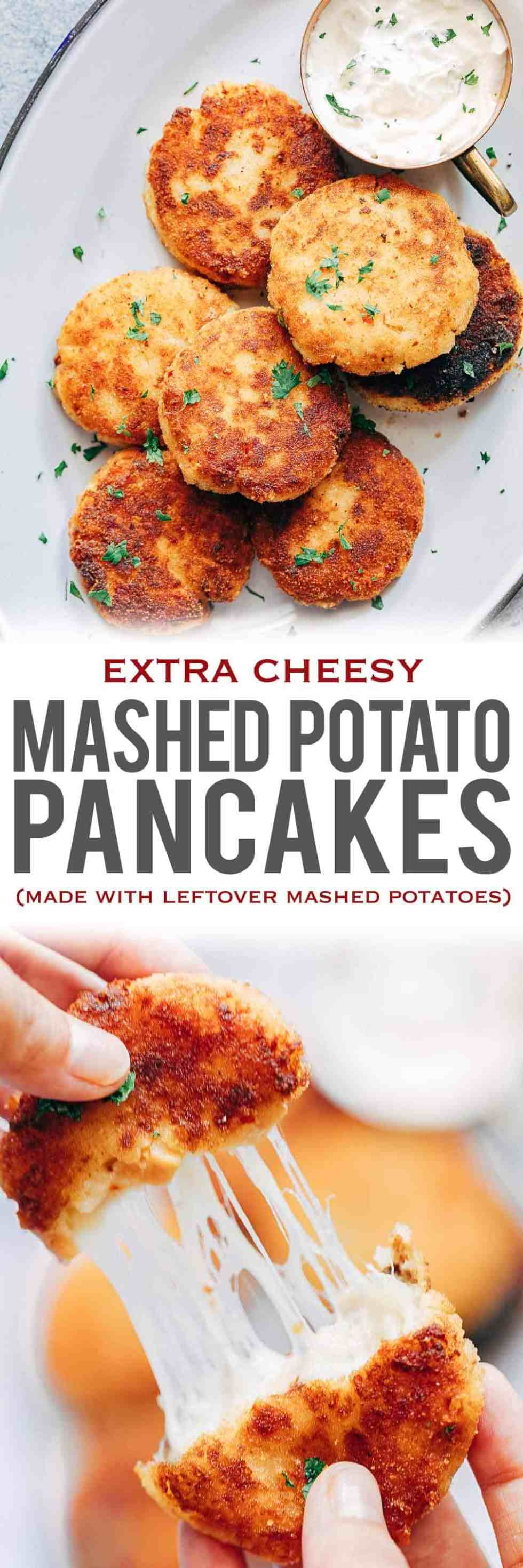 Leftover Mashed Potato Ham Pancakes are the best way to use up extra mashed potatoes after thanksgiving or christmas for a delicious, cheesy appetiser that everyone will go crazy for! These are like patties, cutlets or cheesy cakes and taste amazing served with sour cream. Easy, shallow fried and the best idea!