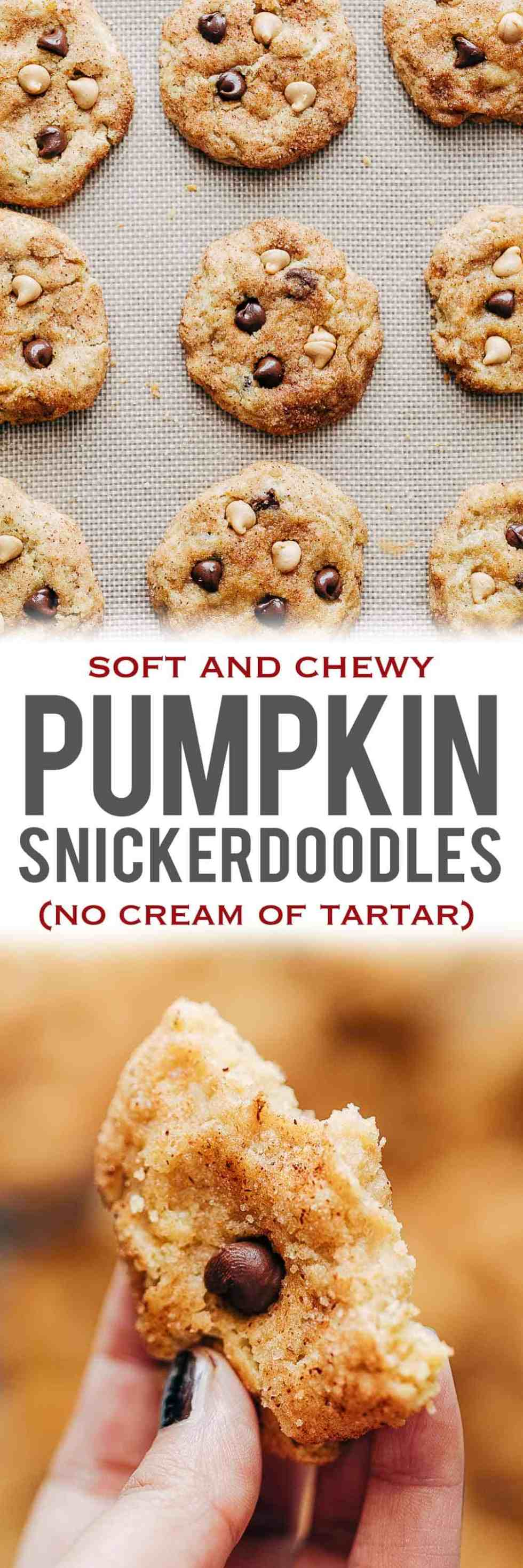 These homemade Pumpkin Snickerdoodle Cookies are soft and chewy have all the fall flavours - pumpkin, cinnamon, chocolate chips and peanut butter chips. Made eggless and without cream of tartar. Perfect for christmas gifting, holiday baking, cookie swaps.