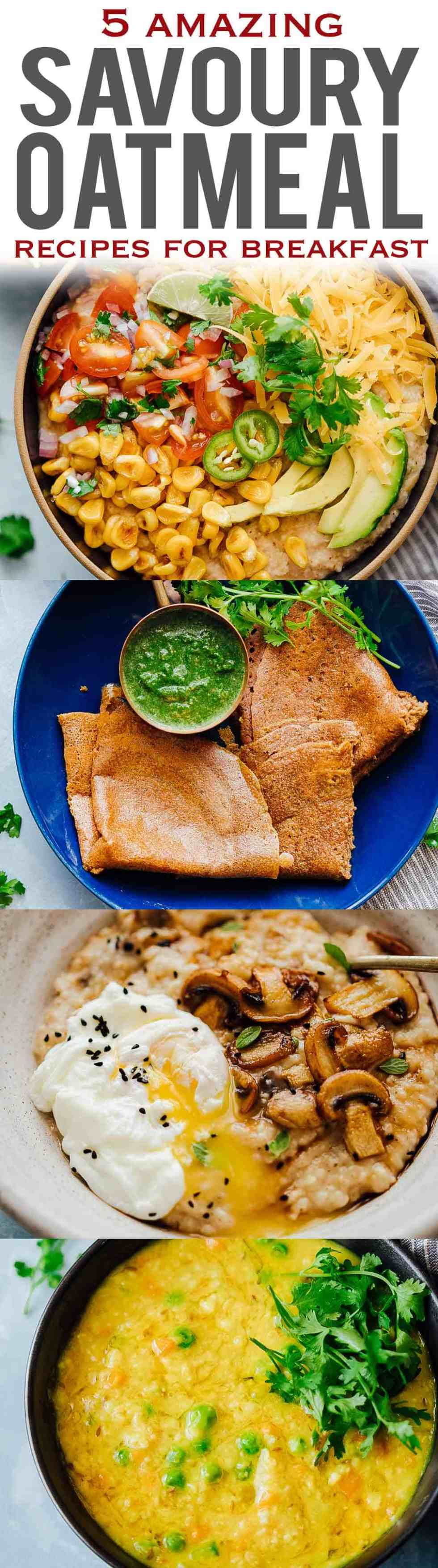 5 HEALTHY SAVORY OATMEAL recipes that you'll love for breakfast!Have you ever tried savory oatmeal before? Skip the sweet stuff and try these delicious recipes - mexican oatmeal, oat pancakes, garlic oats with egg, masala oats khichdi (porridge) and mushroom oats. These recipes are ready in fifteen minutes and perfect for breakfast or lunch!