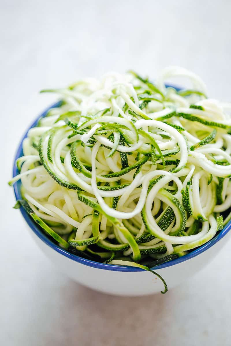 A bowl of spiralized zucchini noodles