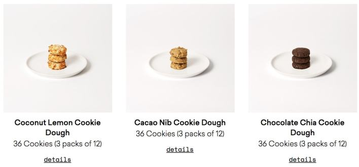 Daily Harvest Cookie options