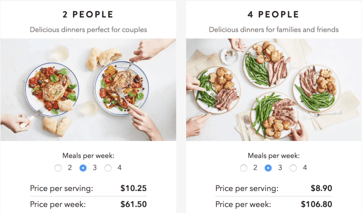 martha and marley spoon meal kit pricing options