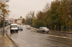 Город во время дождя