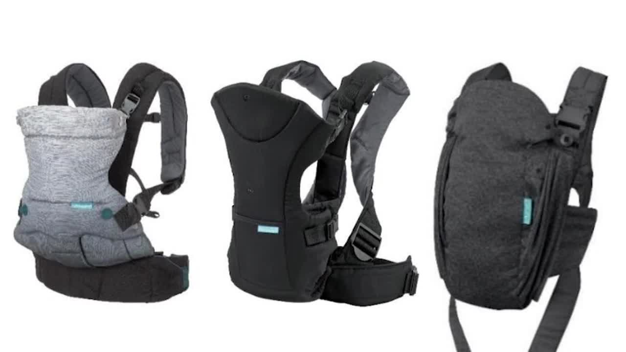 Around 14,000 baby carriers are being recalled due to faulty buckles which could cause the child to fall out.