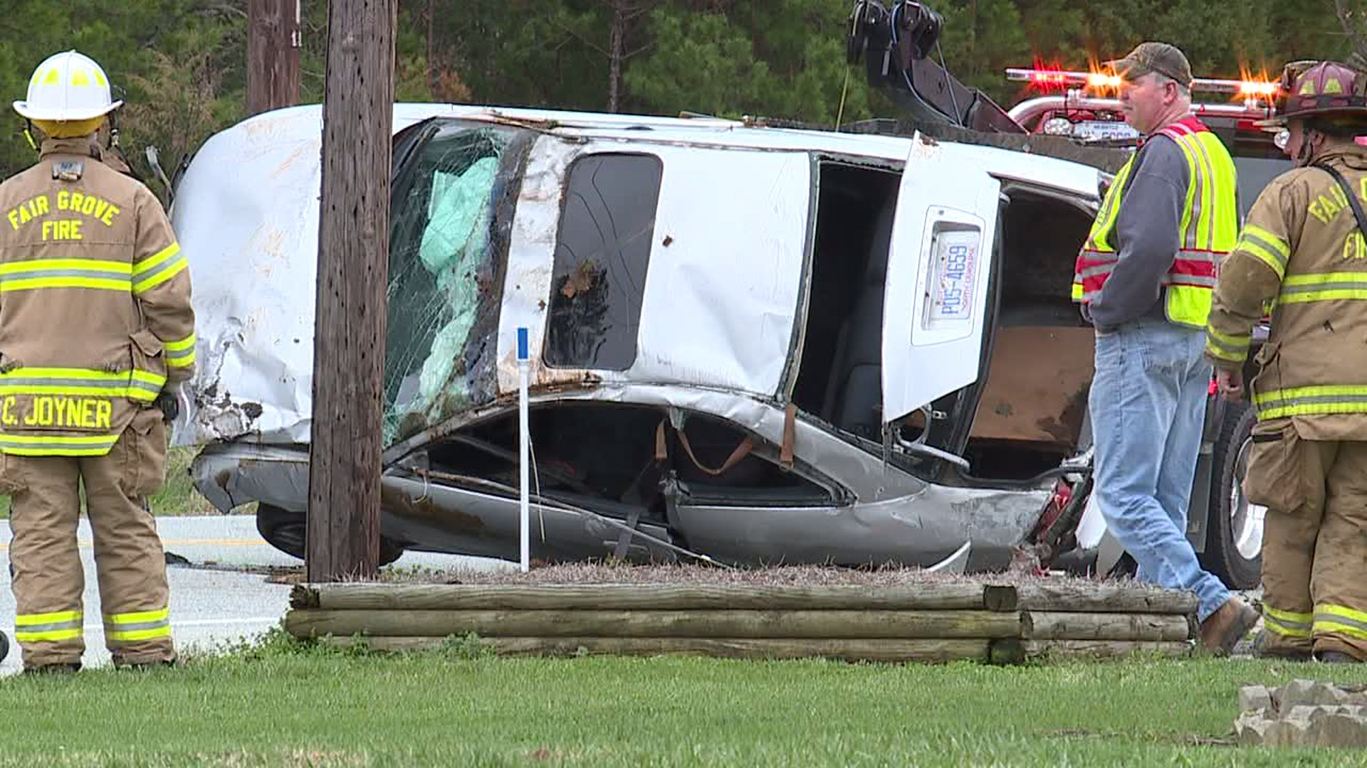 One person was pulled from a car after overturning on Kennedy Road in Thomasville.