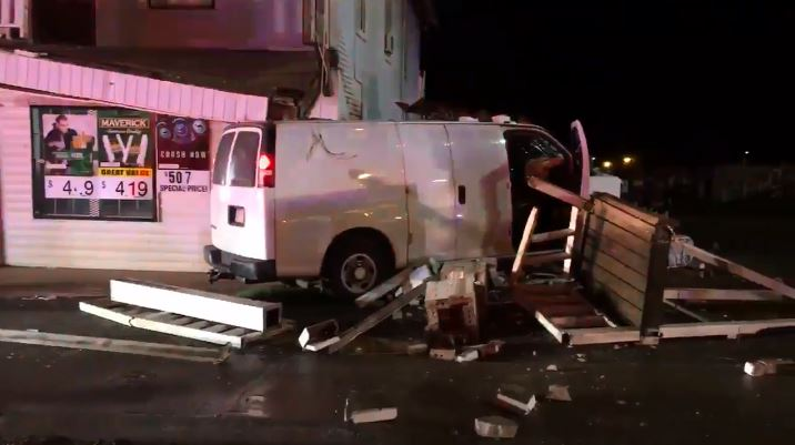 A crash involving two vehicles ended with a van crashing into a Winston-Salem convenience store, according to the Winston-Salem Fire Department.