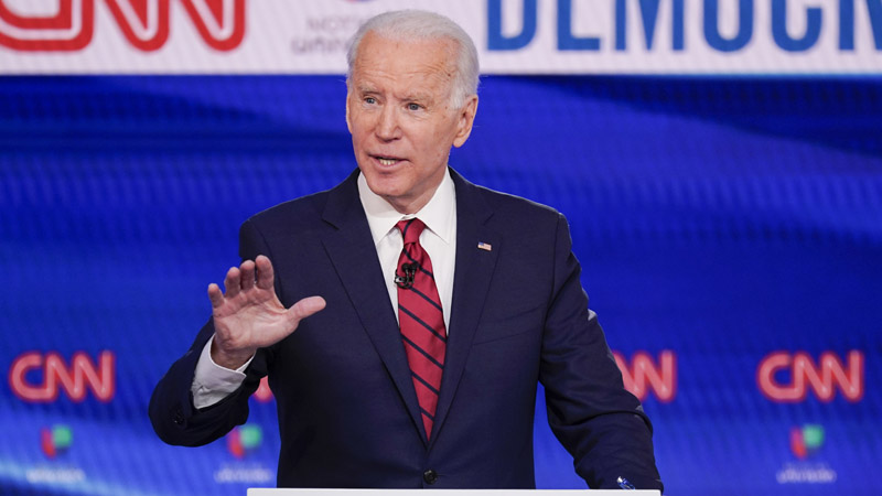 Former Vice President Joe Biden, participates in a Democratic presidential primary debate at CNN Studios in Washington, Sunday, March 15, 2020. (AP Photo/Evan Vucci)