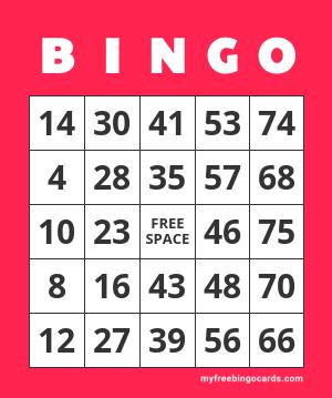 Classic 1 75 Number Bingo