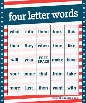 Kids Four Letter Words Bingo