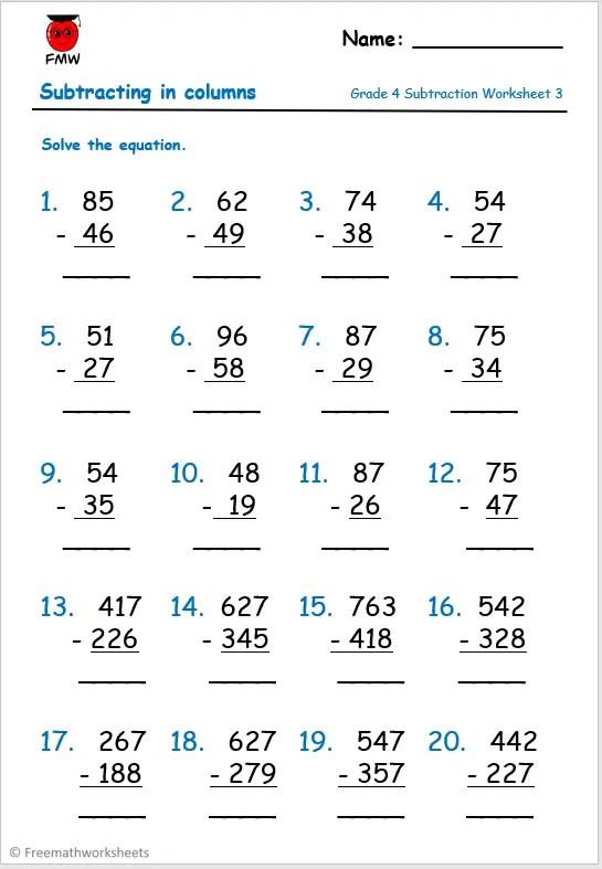 Grade 4 column subtraction worksheet